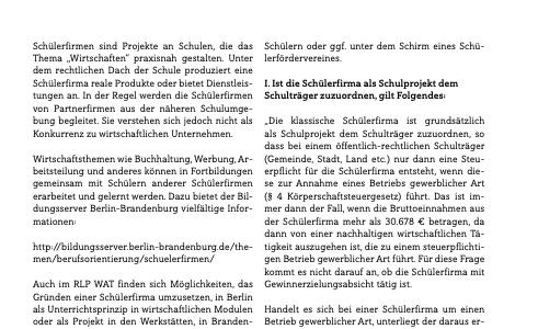 """""""Besteuerung von Schülerfirmen"""" und """"Konzeptuelle Grundlagen und Merkmale des handelnden Lernens"""""""