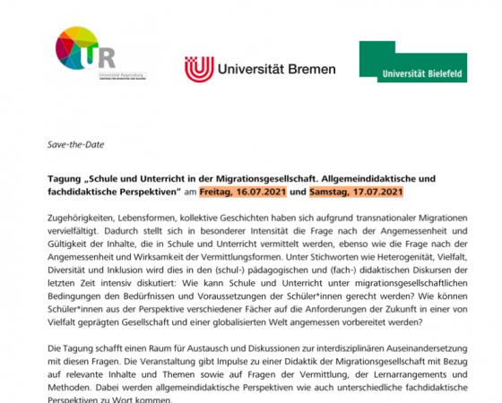 """Tagung """"Schule und Unterricht in der Migrationsgesellschaft. Allgemeindidaktische und fachdidaktische Perspektiven"""""""