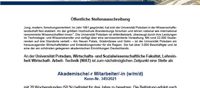 Öffentliche Stellenausschreibung Akademische/-r Mitarbeiter/-in (w/m/d)